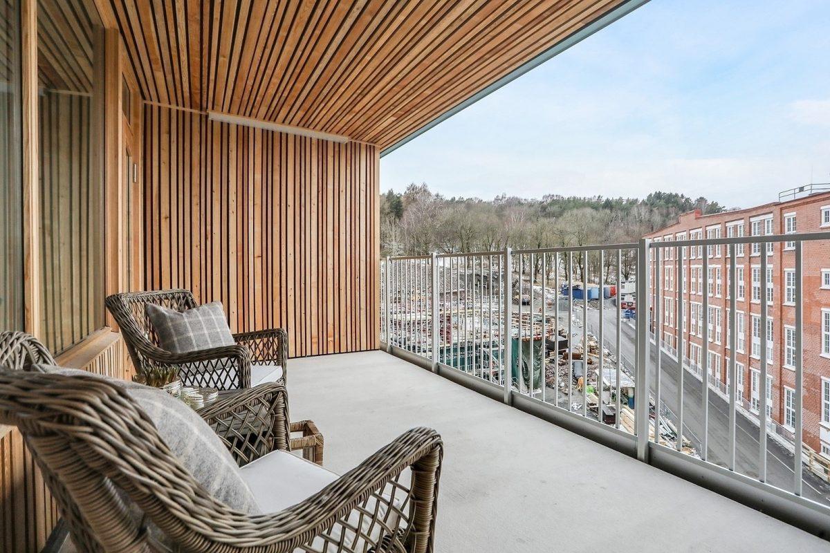Generösa terrasser om 14-39 kvm (bild från visningslägenhet 4:a om 116 kvm)
