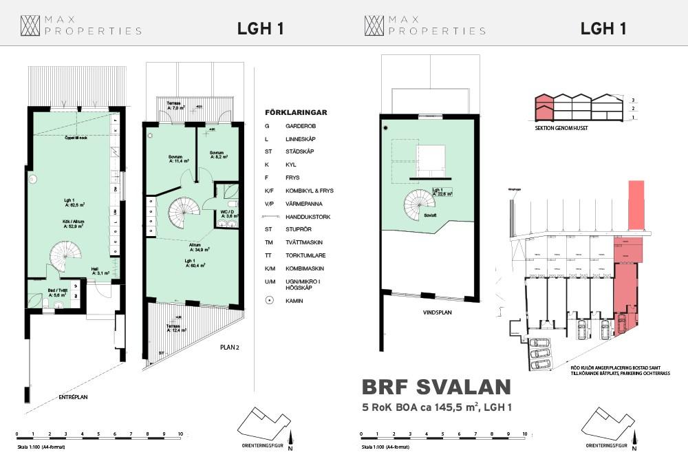 Planlösning för lägenhet A1 om tre plan