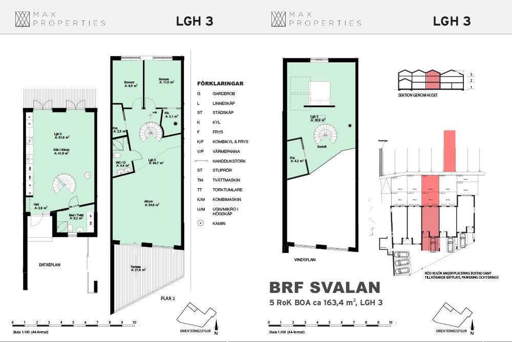 Planlösning för lägenhet A3 om tre plan