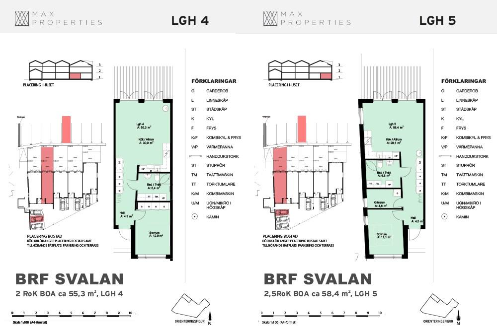 Planlösning för lägenhet A4 och A5 om ett plan