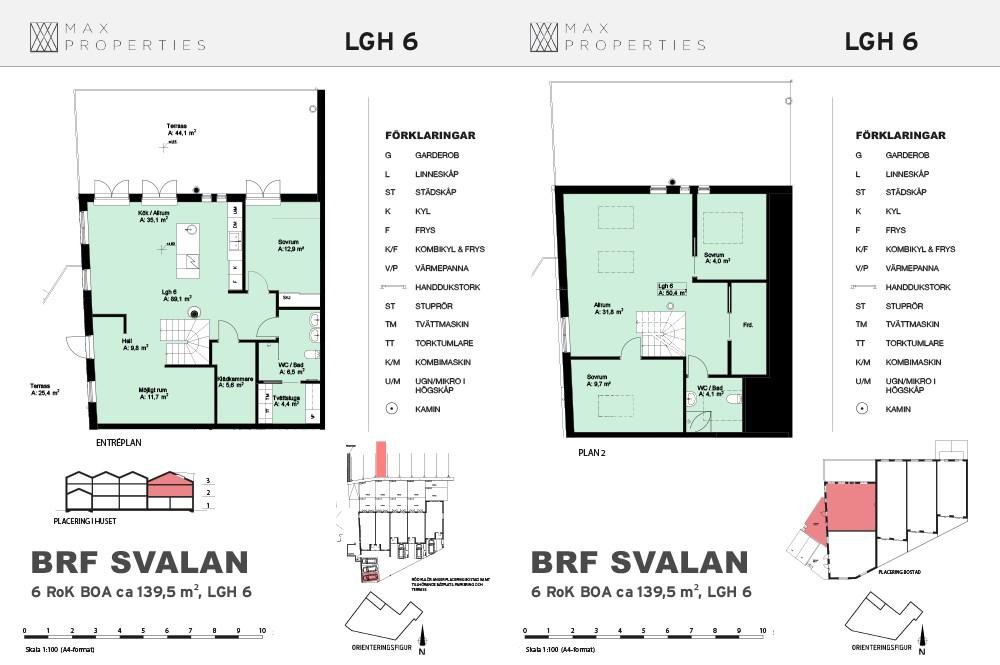 Planlösning för lägenhet A6 om två plan