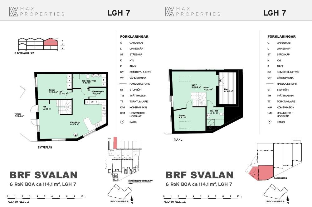 Planlösning för lägenhet A7 om två plan
