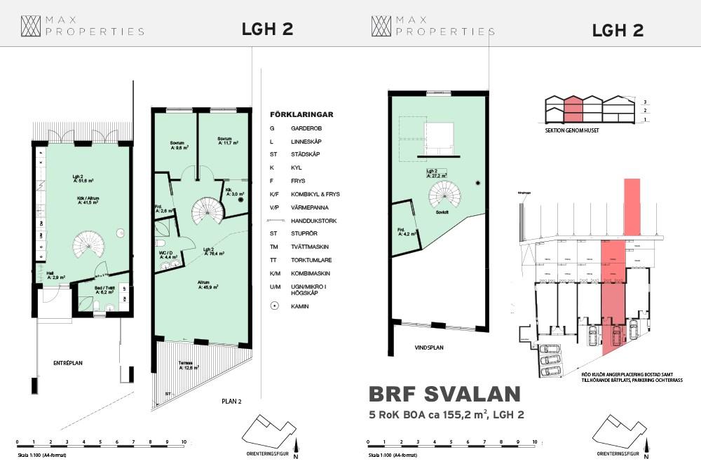 Planlösning för lägenhet A2 om tre plan